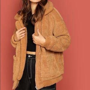 Jackets & Blazers - Tan Fleece Teddy Jacket